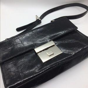 Handbags - Vintage black wet look crinkle vinyl purse